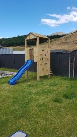 Playfort with climbing wall